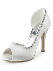 Elegantpark Peep Toe Satin Stiletto Heel Beading Platform Wedding & Evening Shoes