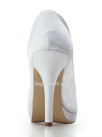 Elegantpark Peep Toe Pumps Inside Platform Stiletto Heel Lace Wedding & Party Shoes (EP11084-PF)