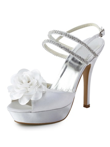 Elegantpark Open Toe Stiletto Heel Sandal Straps Beading Buckle Flower Satin Wedding & Party Shoes (EP11087-PF)