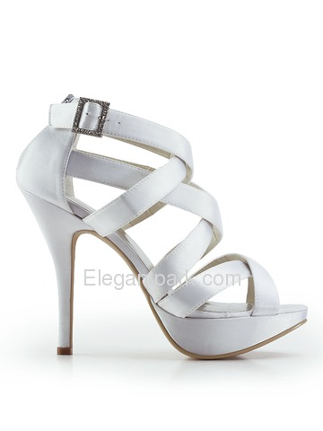 Elegantpark Open Toe Pumps Satin Straps Buckle Stiletto Heel Evening & Party Shoes (EP11088-PF)