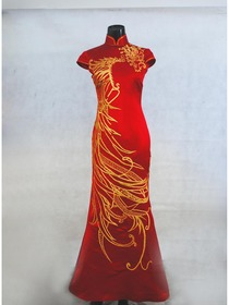 Red Mermaid Mandarin Collar Cap Sleeves Floor-Length Silk Brocade Chinese Cheongsam