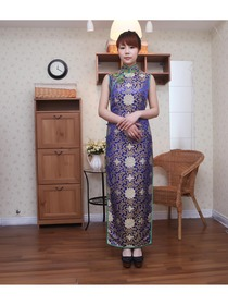 Royal Blue Traditional Mandarin Collar Ankle-Length Brocade Normal Cheongsam