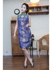 Royal Blue Traditional Mandarin Collar Knee-Length Brocade Normal Choengsam