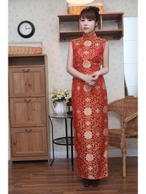 Red Traditional Mandarin Collar Ankle-Length Brocade Normal Cheongsam