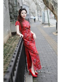 Red Mandarin Collar Cap Sleeve Ankle Length Silk Brocade Normal Choengsam