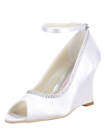 Elegantpark Satin Upper Peep Toe Wedges Heel Rhinestone Buckle Modern Wedding Bridal Shoes More Colors Available
