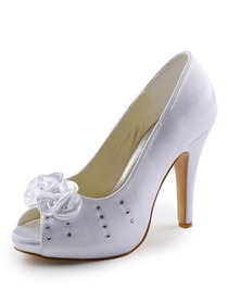 Elegantpark Satin Peep Toe Stiletto Heel/Pumps Inside Platform Rhinestones Evening&Party Shoes