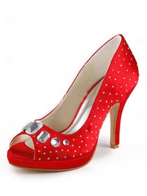 Elegantpark Satin Peep Toe Stiletto Heel/Pumps Platform Rhinestones Evening&Party Shoes
