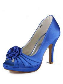 Elegantpark Satin Open Toe Stiletto Heel/Pumps Platform Evening&Party Shoes With Satin Flowers