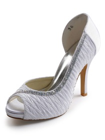 Elegantpark Satin Peep Toe Stiletto Heel/Pumps Inside Platform Ruched Rhinestones Bridal Shoes(More Colors)