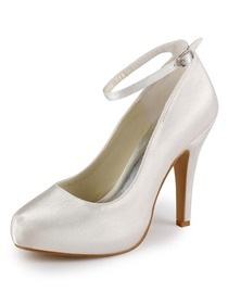 Elegantpark Satin Closed Toe Stiletto Heel/Pumps Inside Platform Bridal Shoes with Buckle(More Colors)