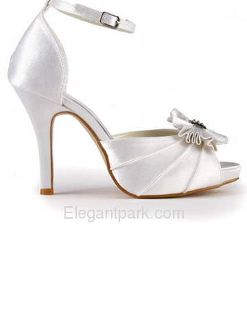 Elegantpark Satin Peep Toe Stiletto Heel/Pumps Inside Platform Rhinestones Evening&Party Shoes With Buckle (EP11050-IP)