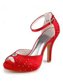Elegantpark Satin Open Toe Stiletto Heel/Pumps Inside Platform Rhinestones Evening&Party Shoes