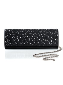 Black Crystals Satin Prom/Evening Handbags
