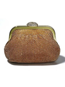 Gold Crystals Metallic Clutches/Metallic/Evening Bags