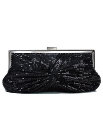 Elegant Black Ruched Beading Satin Handbags/Clutches/Evening Bags