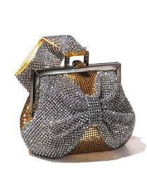 Golden Rhinestone Metallic Hand Bag With a Belt Formal Evening Bag/Clutches