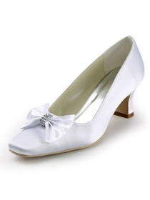 Elegantpark White Square Toe Satin Bow Bridal Evening Party Shoes