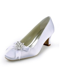 Elegantpark White Square Toe Low Heel Satin Bowknot Bridal Evening Party Shoes