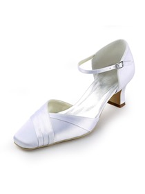 Elegantpark White Square Toe Low Heel Satin Bridal Evening Party Shoes