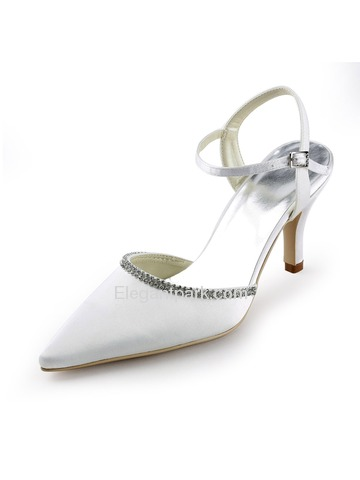 Elegantpark White Pointy Toe Stiletto Heel Satin Wedding Evening Party Shoes (EP11115)