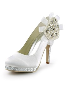 Elegantpark White Round Toe Platform Pearls Stiletto Heel Rhinestone Satin Wedding Party Shoes