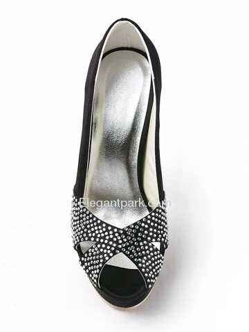 Elegantpark Black Peep Toe Rhinestone Stiletto Heel Platform Satin Evening Party Shoes (EP11123-PF)