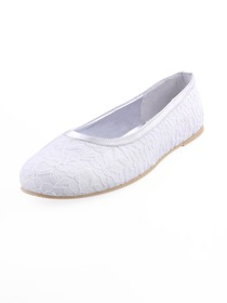 Elegantpark White Round Toe Flat Lace Bridal Evening Party Shoes