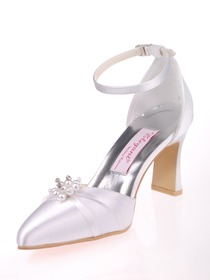 Elegantpark Satin Upper Flat Heel Pearl Buckle Modern Evening & Party Shoes