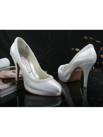 Elegantpark Closed Toe Beading Platforms Satin Bridal Shoes