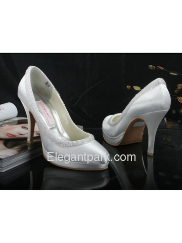 Elegantpark Closed Toe Beading Platforms Satin Bridal Shoes (EL-005CC-PF)
