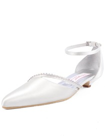 Elegantpark Ivory Pointy Toe Rhinestone Low Heel Satin Wedding Bridal Evening Party Shoes