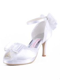 Elegantpark White Peep Toe Bow Buckle Platform Stiletto Heel Satin Evening Party Wedding Shoes
