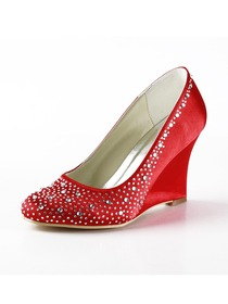 Elegantpark Red Almond Toe Satin Rhinestones Wedge Wedding Evening & Party Shoes