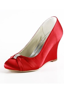 Elegantpark Red Round Toe Wedge Satin Bow Wedding Evening Party Shoes