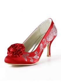 Elegantpark Red Almond Toe Satin Rhinestones Wedding Evening & Party Shoes