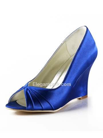 Elegantpark Blue Peep Toe Wedge Satin Wedding Evening & Party Shoes (EP2009)