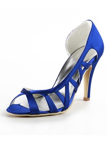 Elegantpark Blue Peep Toe Stiletto Heel Satin Wedding Evening Party Shoes