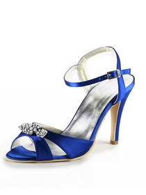 Elegantpark Blue Open Toe Satin Rhinestones Wedding Evening & Party Shoes