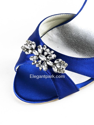 Elegantpark Blue Open Toe Satin Rhinestones Wedding Evening & Party Shoes (EP2011)