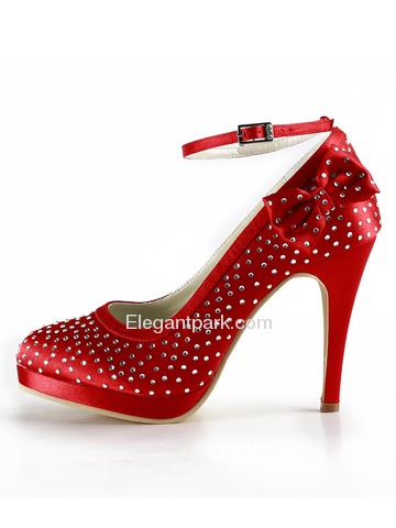 Elegantpark Red Almond Toe Platform Satin Bowknot Wedding Evening & Party Shoes (EP2012-PF)
