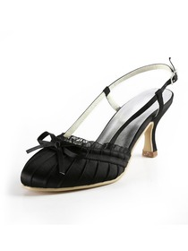 Elegantpark Black Almond Toe Slingbacks Satin Wedding Evening Party Shoes