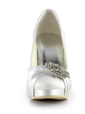 Elegantpark White Almond Toe Stiletto Heel Platform Satin Wedding Evening Party Shoes (EP2015-PF)