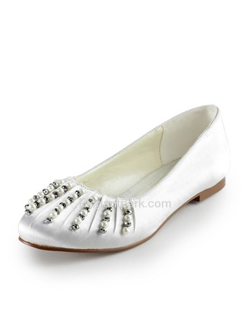 Elegantpark Ivory Almond Toe Flat Satin Pearls Wedding Evening Party Shoes (EP2016)