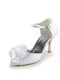 Elegantpark White Peep Toe Flower Stiletto Heel Satin Wedding & Evening Bridal Sandals
