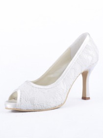 Elegantpark Satin Peep Toe Cone Heel Wedding Bridal & Evening Shoe