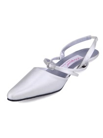 White Pointy Toe Casual Low Heel Satin Bridal Evening & Party Shoes