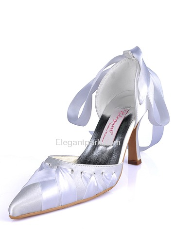 Elegantpark Ivory Pointy Toes Stiletto Heel Satin Ribbon Tie Wedding Bridal Party Shoes (A0563)