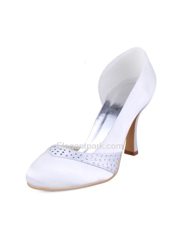 Elegantpark Ivory Round Toes Stiletto Heel Satin Bridal Shoes (EP11020)