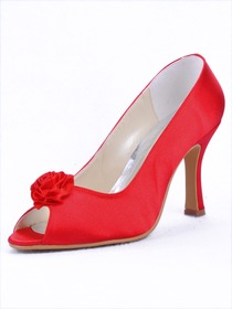 Elegantpark Peep Toe Flower Stiletto Heel Bridal & Evening Shoes